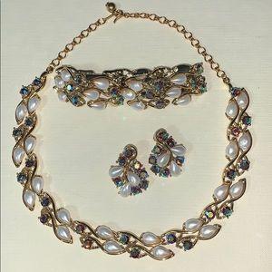 Vintage Pearl and Rhinestone Necklace & Bracelet